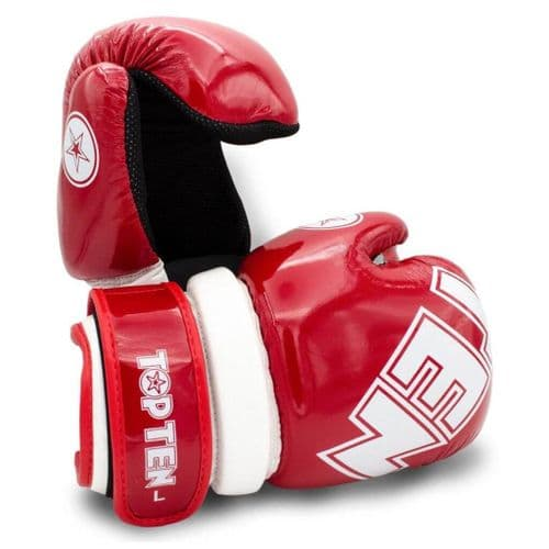 TOP TEN Glossy Block Pointfighter Gloves Red/White
