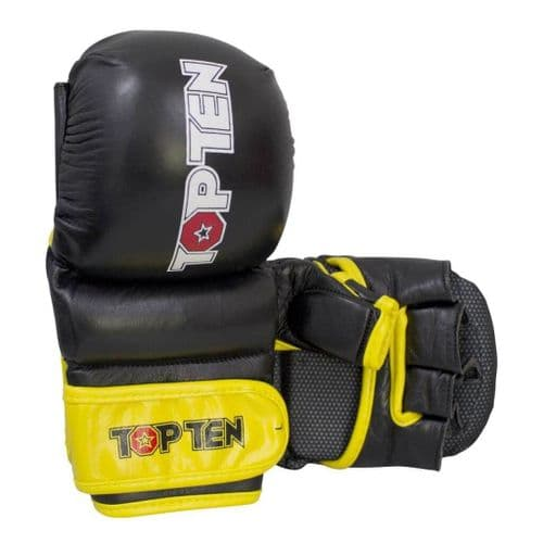 "TOP TEN MMA Sparring Gloves ""Thumb Guard"" Black/Yellow"