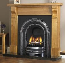 Decorative Arched Insert & Oak Mantelpiece Fireplace Package