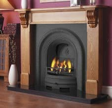 Decorative Arched Insert & Pine Mantelpiece Fireplace Package