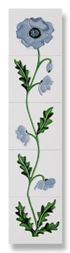 Field Poppy (Ivory Blue) Fireplace Tile Set - Tubeline Tiles