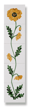 Field Poppy (Ivory Yellow) Fireplace Tile Set - Tubeline Tiles