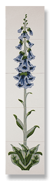 Foxglove (Blue) Fireplace Tile Set - Tubeline Tiles