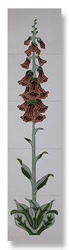 Foxglove (Burgundy) Fireplace Tile Set - Tubeline Tiles