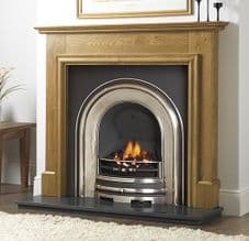 Plain Arched Insert & Oak Mantelpiece Fireplace Package
