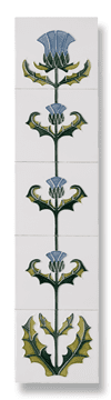 Thistle of Tay  (Blue) Fireplace Tile Set - Tubeline Tiles