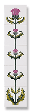 Thistle of Tay (Magenta) Fireplace Tile Set - Tubeline Tiles