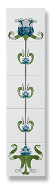 Tulip (Ivory Blue) Fireplace Tile Set - Tubeline Tiles