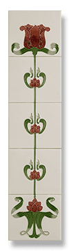 Tulip (Ivory Burgundy) Fireplace Tile Set - Tubeline Tiles