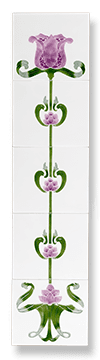 Tulip (Ivory Magenta) Fireplace Tile Set - Tubeline Tiles