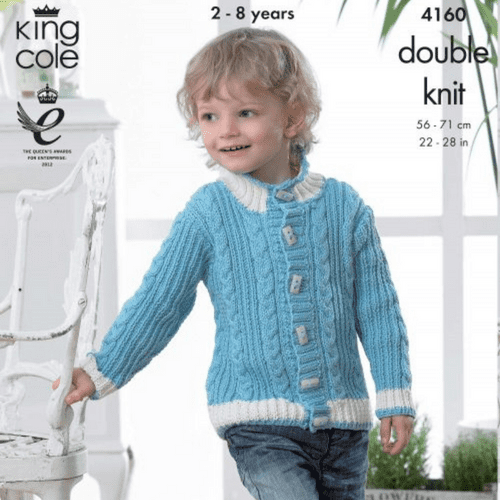 Boys Jacket and Sweater Knitting Pattern in King Cole Cottonsoft DK (4160)