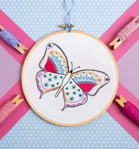 Hawthorn Handmade Butterfly Contemporary Embroidery Kit