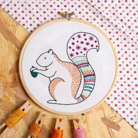Hawthorn Handmade Squirrel Contemporary Embroidery Kit
