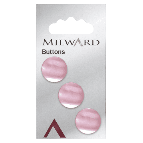 Milward Carded Buttons Pearl Pink Shank 16mm - Pack of 3