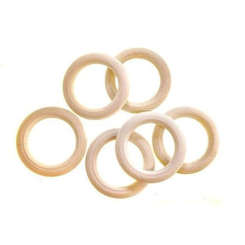 Wooden Macrame Ring 55mm (Pack of 6)