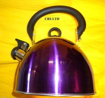 WHISTLE KETTLE STAINLESS STEEL  2.5L PURPLE METALIC HOME CAMPING CARAVAN STOVE