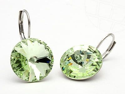 Pierced Earrings with original Swarovski Crystals Chrysolite