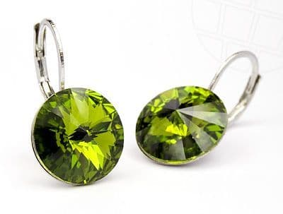 Pierced Earrings  with original Swarovski Elements Crystals Olivine