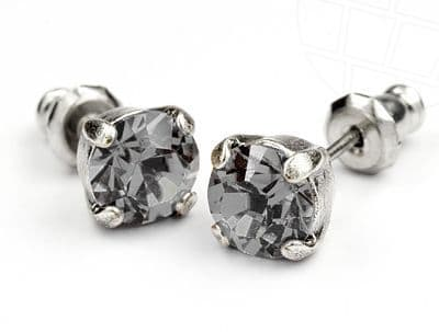Stud Earrings  with Swarovski Crystals Black Diamond