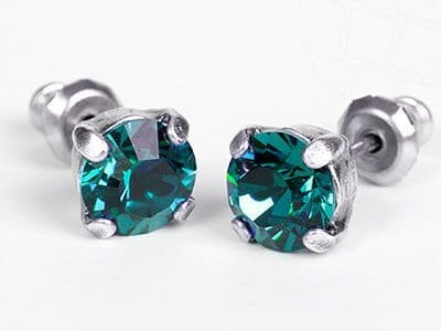 Stud Earrings with Swarovski Crystals Blue Zircon