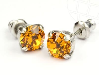 Stud Earrings  with Swarovski Crystals Topaz