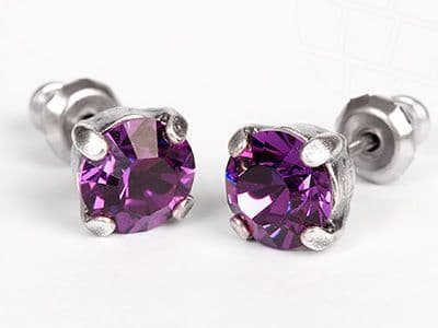 Stud Earrings with Swarovski Elements Crystals Amethyst