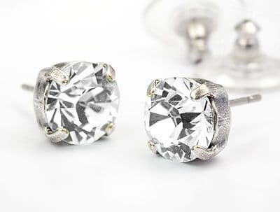 Stud Earrings with Swarovski Elements Crystals Crystal  Clear