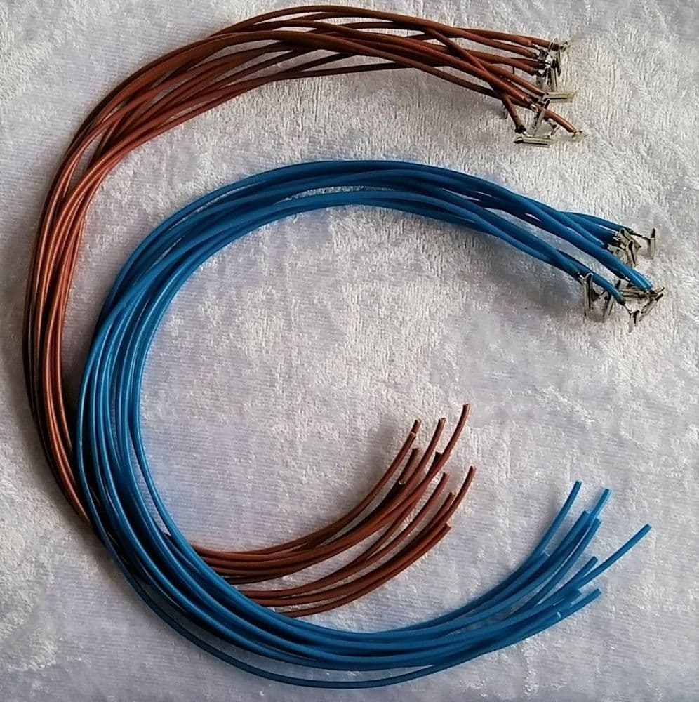 24 x 300mm Dropper Wire with Soldered Code 100 Fishplates Blue & Brown