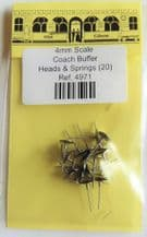 Alan Gibson 4mm Scale Coach Buffer Heads & Springs Part no. 4971