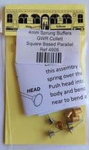 Alan Gibson 4mm Sprung Buffers GWR Collett Square Based Parallel Part no. 4906