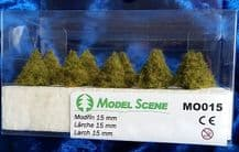 Model Scene MO015 Larch Trees 15mm Pack of 10
